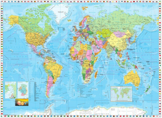 Фотообои «World Map / Flags» (255 х 185 см)