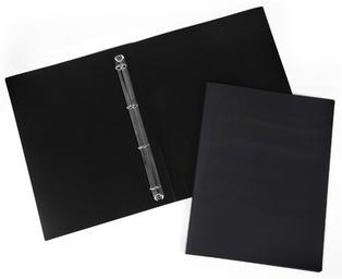 Папка-файл ламинированная на 4 кольцах черная