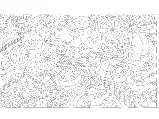 плакат раскраска по номерам конфеты 60х100 см