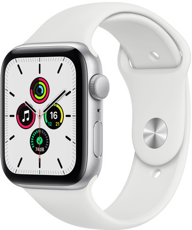 Смарт-часы Apple Watch SE GPS 44mm Silver Aluminium Case with White Sport Band