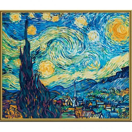 раскраска по номерам звездная ночь художник ван гог