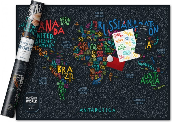 Карта Travel Map Letters World (80х60 см)