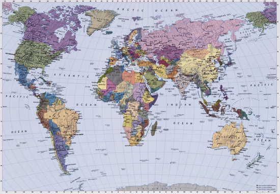 Фотообои «World Map» (270 х 188 см)